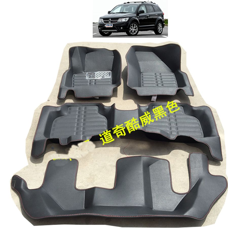 free shipping fiber leather car floor mat for Fiat Freemont dodge Journey 2008-2017 7 seats