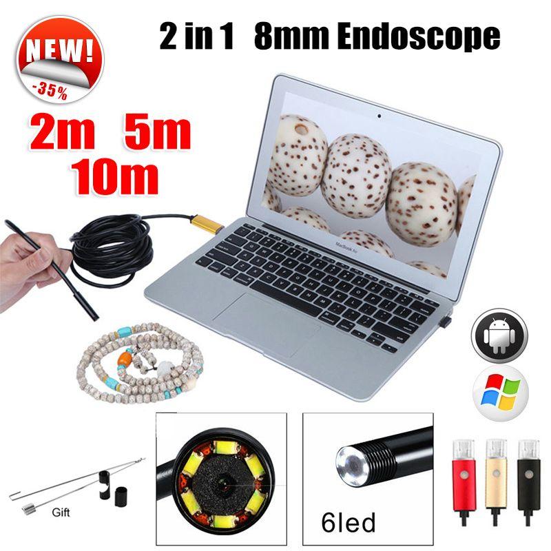 Эндоскопа 8 мм USB эндоскопа Android 5 м 10 м OTG USB ПК endoscopio Мини эндоскопа Камера 720 P инспекции водонепроницаемый телефон Камера