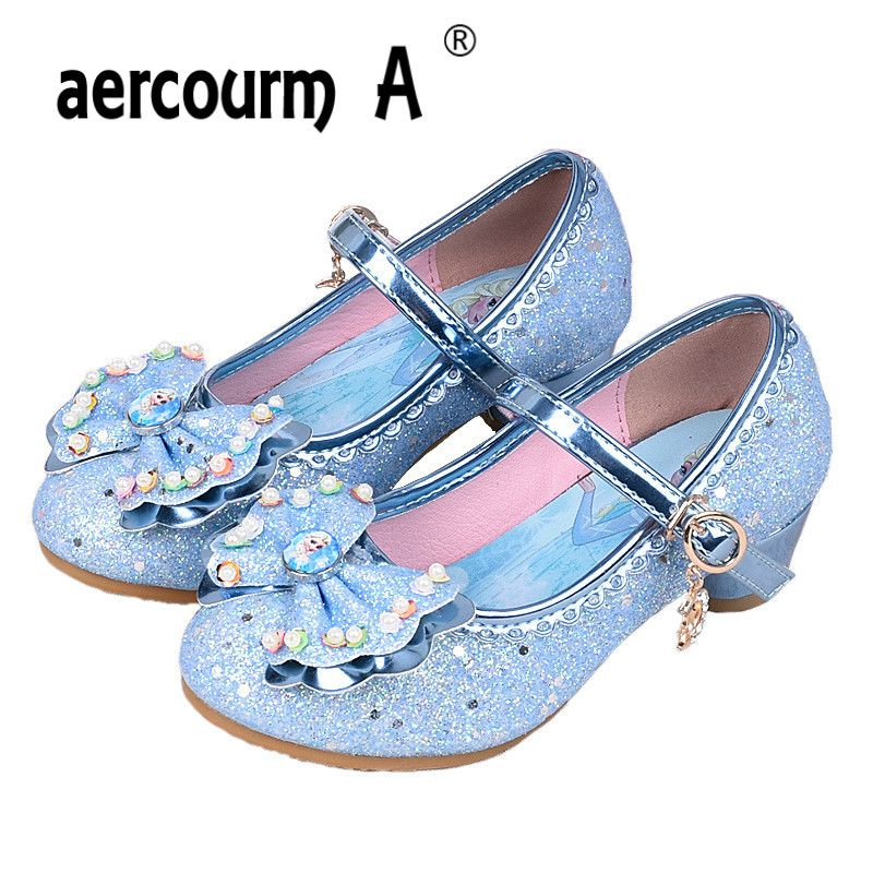 Aercourm Un 2017 Niñas zapatos de Tacón Alto Zapatos de Princesa Elsa Anna Niños Brillantes Zapatos de Baile Niñas precioso Arco de Cuentas Zapatos de Rendimiento