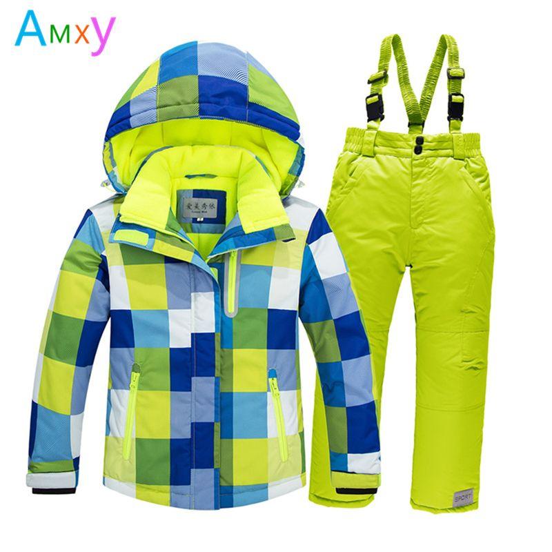 Дети спортивный снег лыжный костюм Зимняя детская одежда комплект Обувь для девочек Толстая куртка + комбинезон Теплый ветрозащитное пальт...
