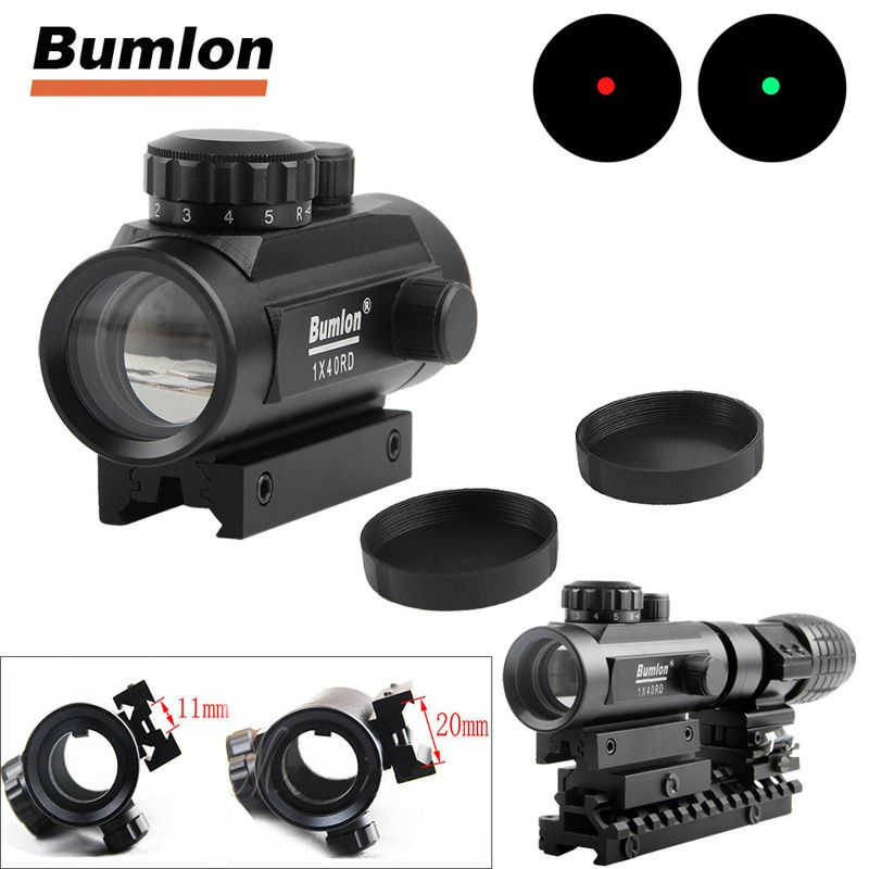 Holographic 1 x 40 Red Dot Sight Airsoft Red <font><b>Green</b></font> Dot Sight Scope Hunting Scope 11mm 20mm Rail Mount Collimator Sight HT5-0013