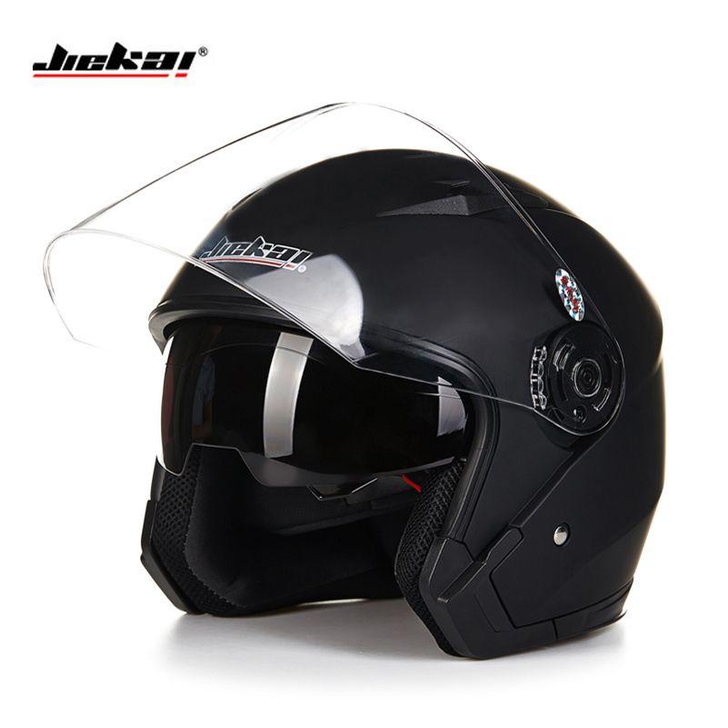 Helmet motorcycle open face capacete para motocicleta cascos para moto racing Jiekai motorcycle vintage helmets with dual lens