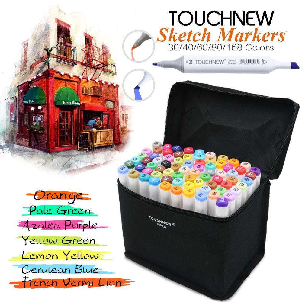 Touchnew 30/40/60/80 Цвет Dual Head Книги по искусству Маркер установлен на спиртовой эскиз Маркеры Ручка для Книги по искусству ist Рисование манга Дизай...