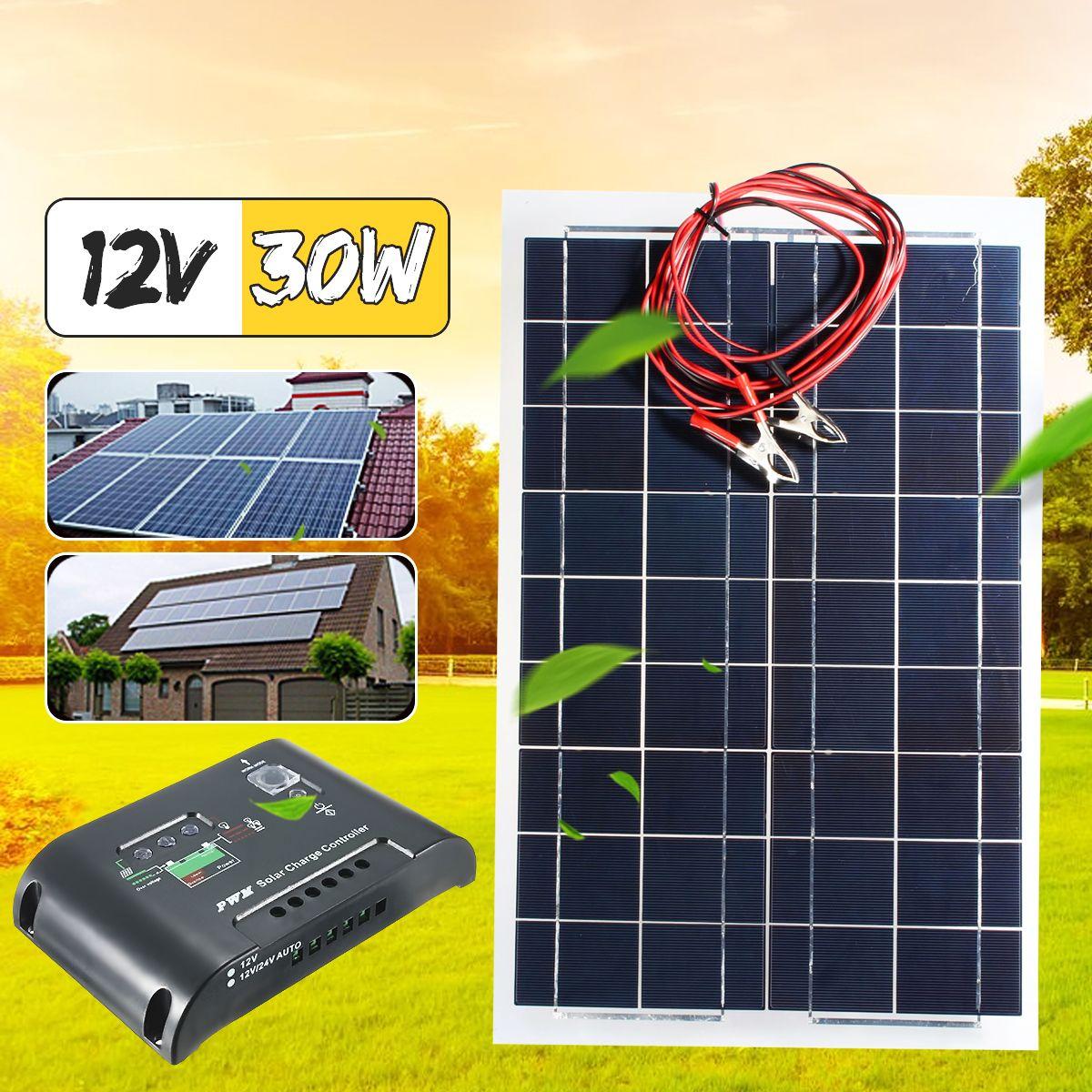 CLAITE 30W 18V Solar Panel Plate Flexible Solar Charger For Car Battery 12V Sunpower Polysilicon Cells +10A PWM Sun Controller