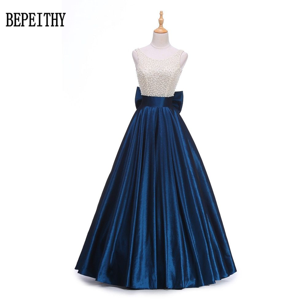 BEPEITHY New Design Vestido Longo Royal Blue Beading Top Vintage Prom Dress Robe De Soiree Big Back Bow Long Evening Dress 2017