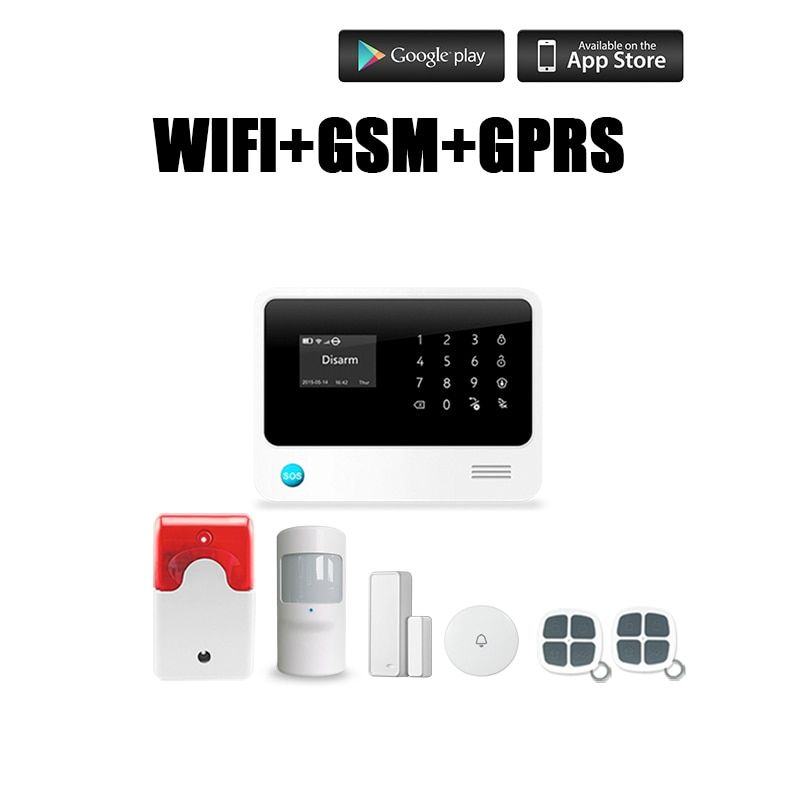 G90B Plus WiFi GSM Alarm Systems Burglar Security Sensor kit Home English Spansih Russian Voice Wireless Andriod IOS App control
