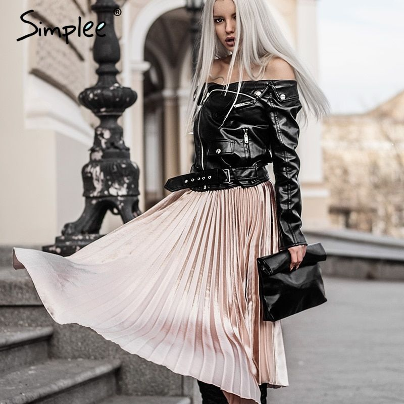 Simplee Autumn satin black long skirt summer Casual smooth women skirt <font><b>2016</b></font> winter high waist skirt Elastic pink pleated skirt