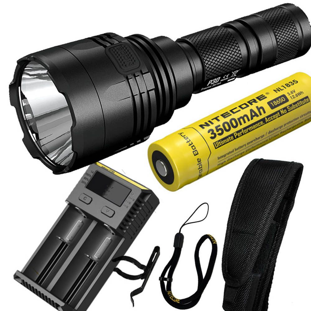 NITECORE P30 1000Lumen Long-range Tactical Flashlight Outdoor Hunting Waterproof Portable Torch +NL1835 battery and I2 charger