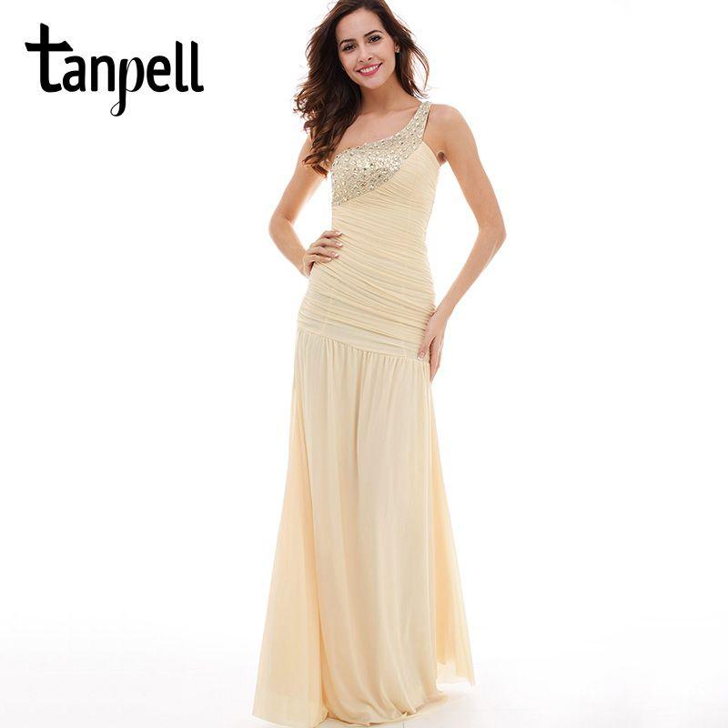 Tanpell vestido de noche largo Champagne sin mangas plisados acanalada rebordear piso mujeres vestidos de baile un hombro vestido de noche