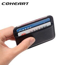 COHEART Super Mince Doux Portefeuille 100% en peau de Mouton véritable en cuir mini carte de crédit portefeuille détenteurs de cartes de bourse Hommes Portefeuille Mince Petit!