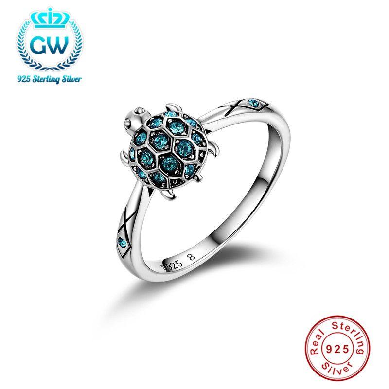 925 argent sterling livraison directe belle tortue bleu ciel clair cristal anneau pour les femmes bijoux meilleur cadeau pour 11.11