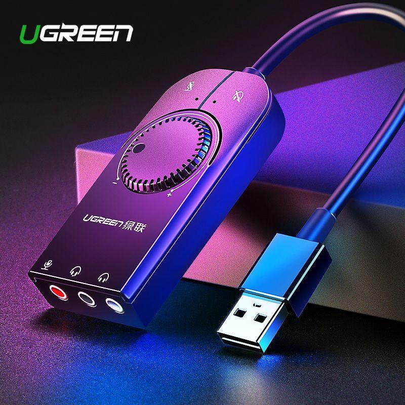 Ugreen carte son USB Interface Audio externe 3.5mm Microphone adaptateur Audio carte son pour ordinateur portable PS4 casque USB carte son