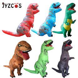 Jyzcos Dewasa T Rex Kostum Inflatable Dinosaurus Kostum Halloween Pesta Kostum Cosplay untuk Wanita Pria Anak Kostum Karnaval