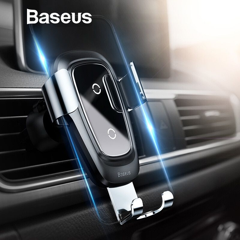 Baseus Qi Wireless Charger Car Holder for iPhone XR XS Max Samsung S9 Mobile Phone Holder Stand Air Vent Mount Car Phone Holder