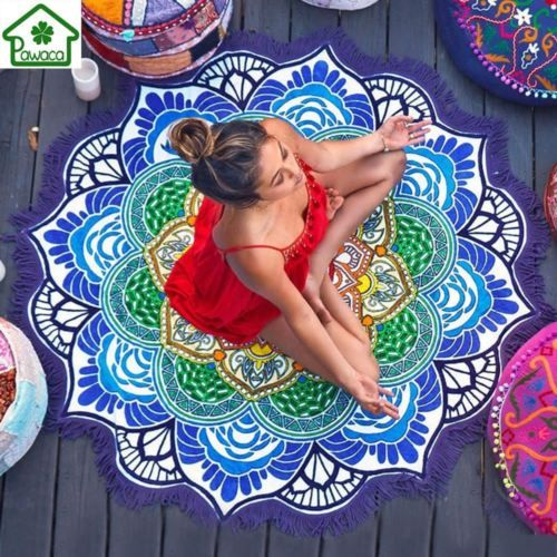 2019 Tassel Mandala Tapestry Beach Towel Sunblock Round Bikini Cover-Up Blanket Lotus Bohemian Yoga Mat Camping Mattress 150cm