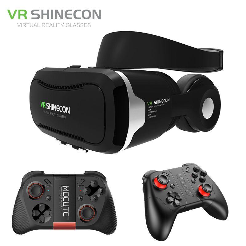 Shinecon VR  Headset 4.0 Virtual Reality Phone Stereo 3D Glasses Google Cardboard BOX for 3.5-5.5' Smartphone + Mocute Gamepad