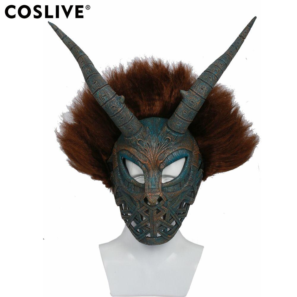 Coslive Erik Killmonger Cosplay Mask Helmet Black Panther Movie Cosplay Brown Cyan Mask With Wig Costume Accessories Prop