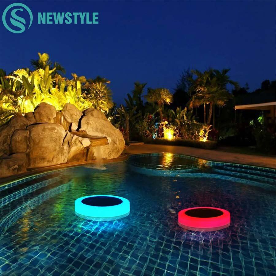 RGB LED Underwater Light Solar Powered Pond Light Outdoor Swimming Pool Floating Party Decorative Light With Remote Control