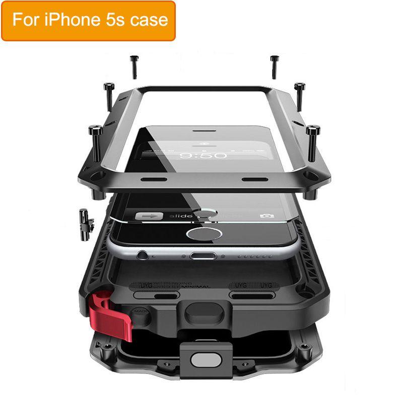 De luxe 360 Armure Cas Pour iphone 5 S En Plein Air Antichoc En Métal Couvercle En Verre Pour iphone SE Cas Étanche Pour iphone 5 Cas coque