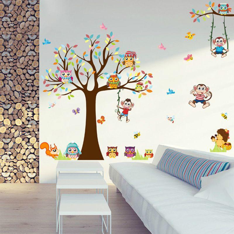 DIY Arbres Singe Hibou Mignon Animal Sticker Mural Pour Enfants Chambres Salon Chambre PVC Murale Grand Grand Mur Photo Pour La Maison décor