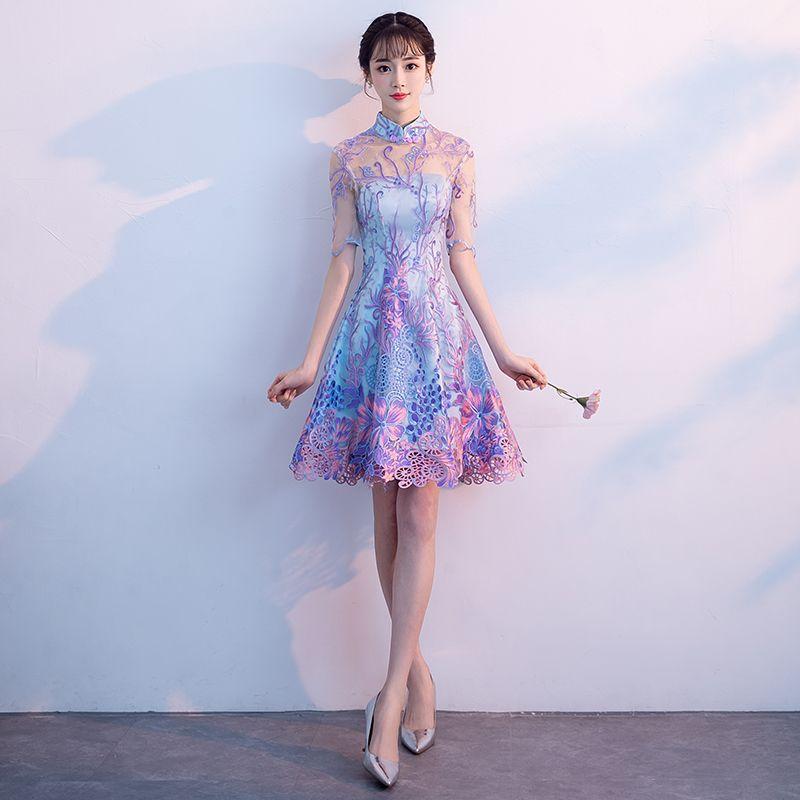 2018 summer high quality navy blue satin cheongsam vintage handmade button lady's qipao short sleeve novelty long dress