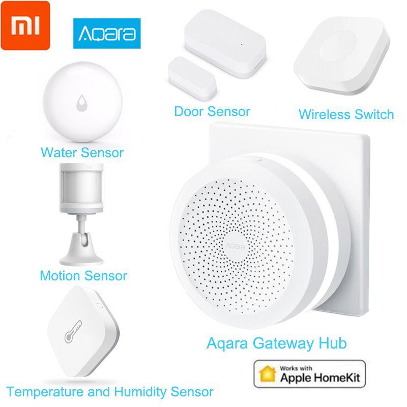 Xiaomi Aqara Smart Home Kits Mijia Hub Door Window Sensor Human Body Wall Switch Humidity Water Sensor Two-way module Aqara Hub
