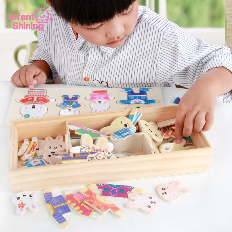 Infantile brillant puzzle jouet blocs en bois bébé jouets en bois ours Dressing jouet jouets éducatifs modèle Kits bloc de construction