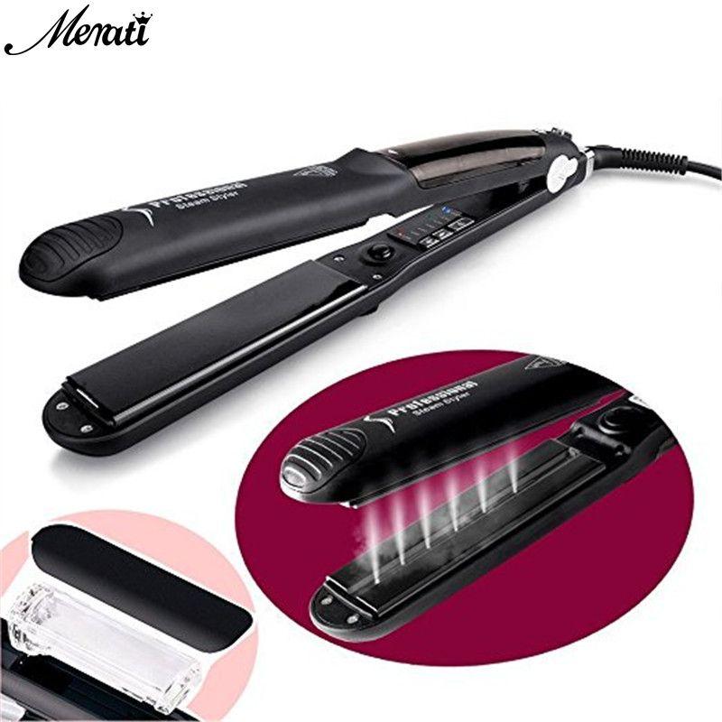 Steam Function Flat Iron Tourmaline Ceramic Vapor Professional Hair Straightener Straightening Irons EU/US/UK Plug