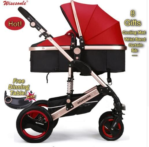 Luxury Baby Stroller 2 in 1 High-Landscape Pram Portable Folding baby <font><b>Carriage</b></font> Cheaper Baby Stroller