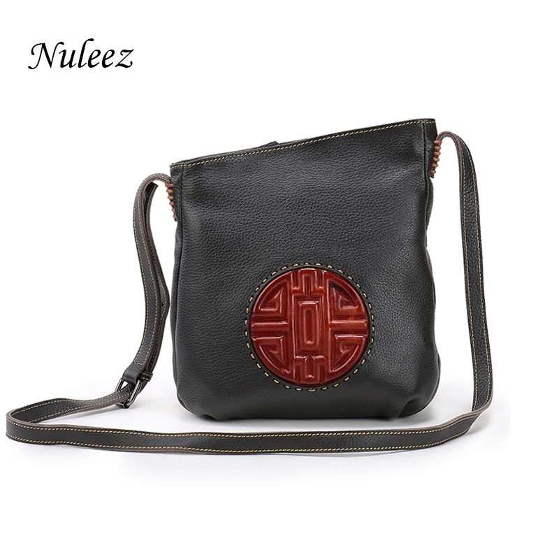 Nuleez Brown Genuine Leather Bag Real Leather Handbags Bucket Women Shoulder Messenger Cross-body Bags Chinese Mooncake Embossed