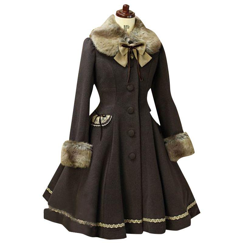 Lovely Wool Hooded Sweet Lolita Coat Girls Winter Coats Brand Long Winter Coat 3Colors