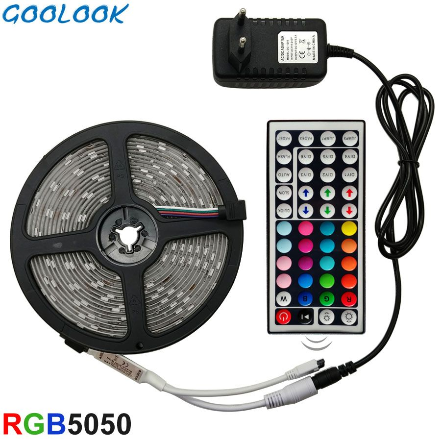 Goolook led Bande Lumière RGB led 5050 SMD 2835 Flexible Ruban RGB Bande 5 M 10 M 15 M bande diode DC 12 V + télécommande + Adaptateur UE