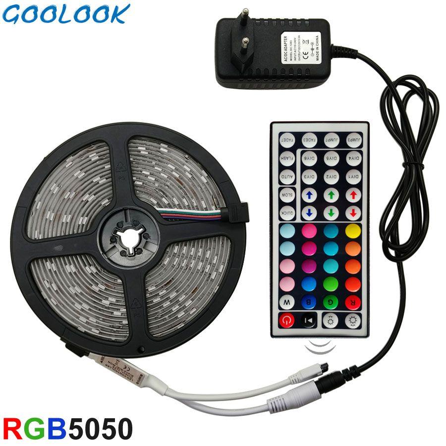 LED Strip Light RGB 5050 SMD 2835 Flexible Ribbon fita led light strip RGB 5M 10M 15M Tape Diode DC 12V+ Remote Control +Adapter
