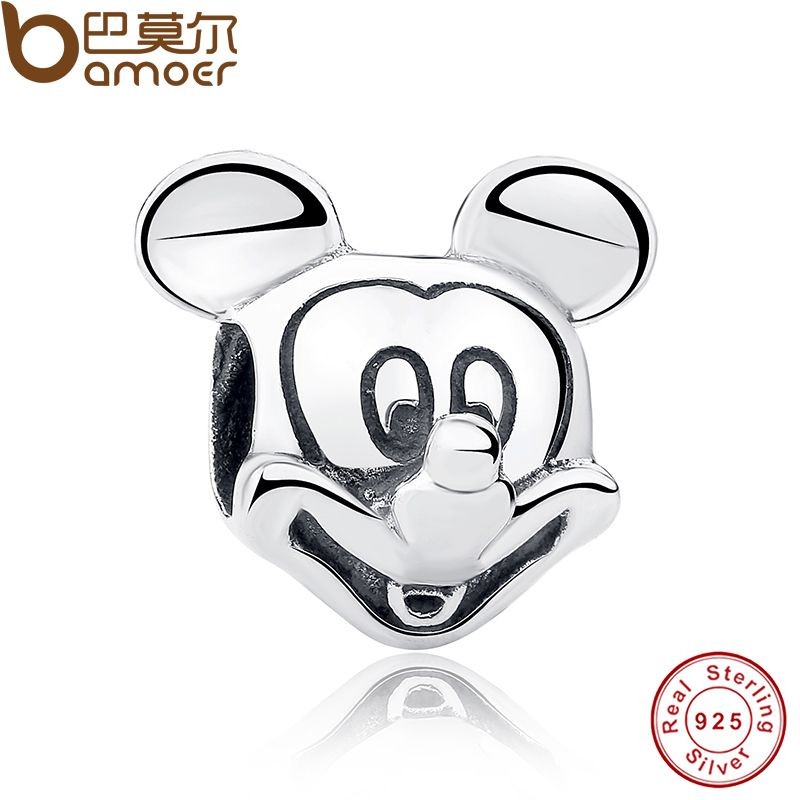 Gift 925 Sterling Silver Lover Cute Mickey Shape Charms and beads Fit Bracelet & Necklace Jewelry Accessories PAS196