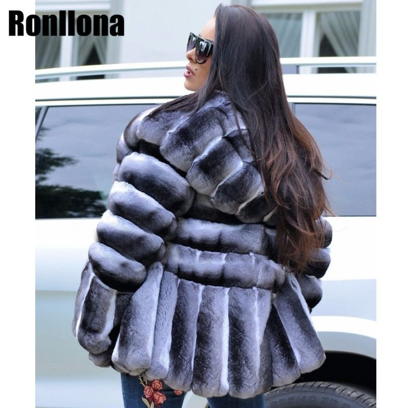 2018New Women Real Chinchilla Rex Rabbit Fur Coat With Big Hood Thick Warm Rabbit Fur Jacket Genuine Skin Rex Winter Coat RB-066