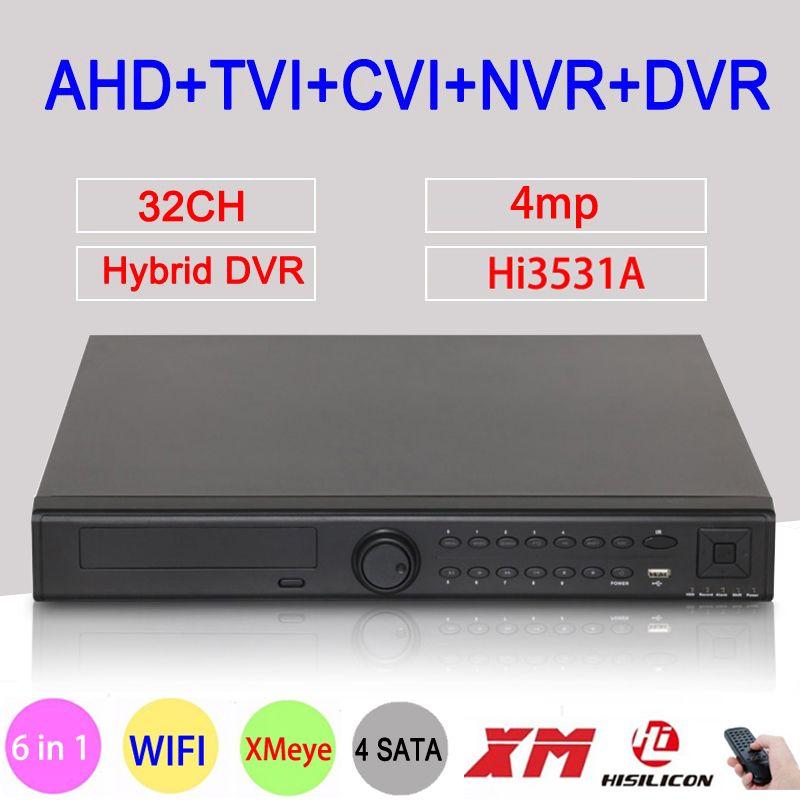 4MP Cctv-kamera Hi3531A 32CH 32 Kanal 4 * SATA 6 in 1 WIFI Hybrid NVR CVI TVI AHD DVR Surveillance Video Recorder FreeShipping