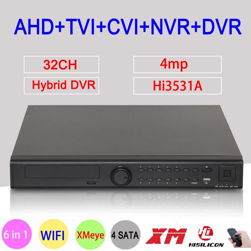 4MP Cctv-kamera Hi3531A 32CH 32 Kanal 4 * SATA 6 in 1 WIFI Hybrid NVR CVI TVI AHD DVR Surveillance Video Recorder FreeShipping
