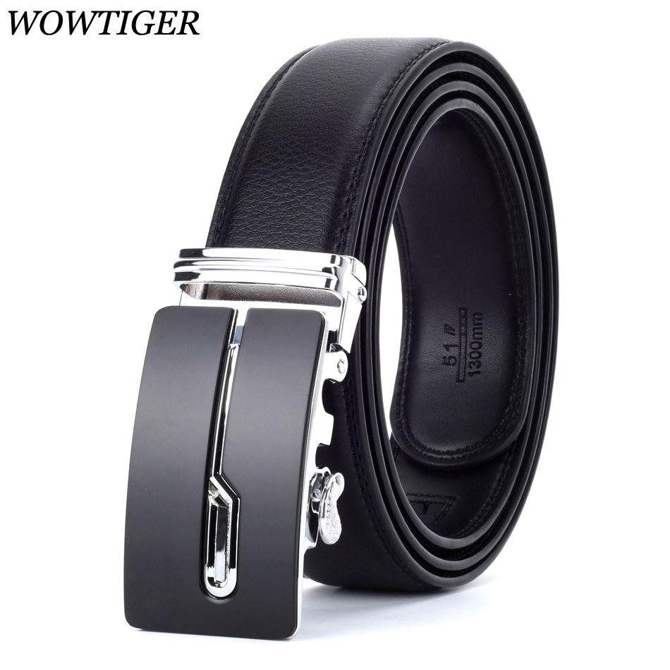 WOWTIGER <font><b>Designers</b></font> Men Automatic Buckle Leather luxury Belt Male Alloy buckle Belts for Men Ceinture Homme