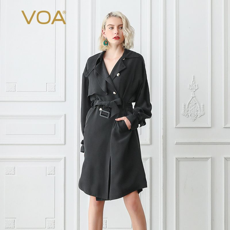 VOA Matte Black Cool Heavy Silk Trench Coat Women Fall Batwing Long Sleeve Double Breasted Overcoat Basic Clothes Belt Fall F367