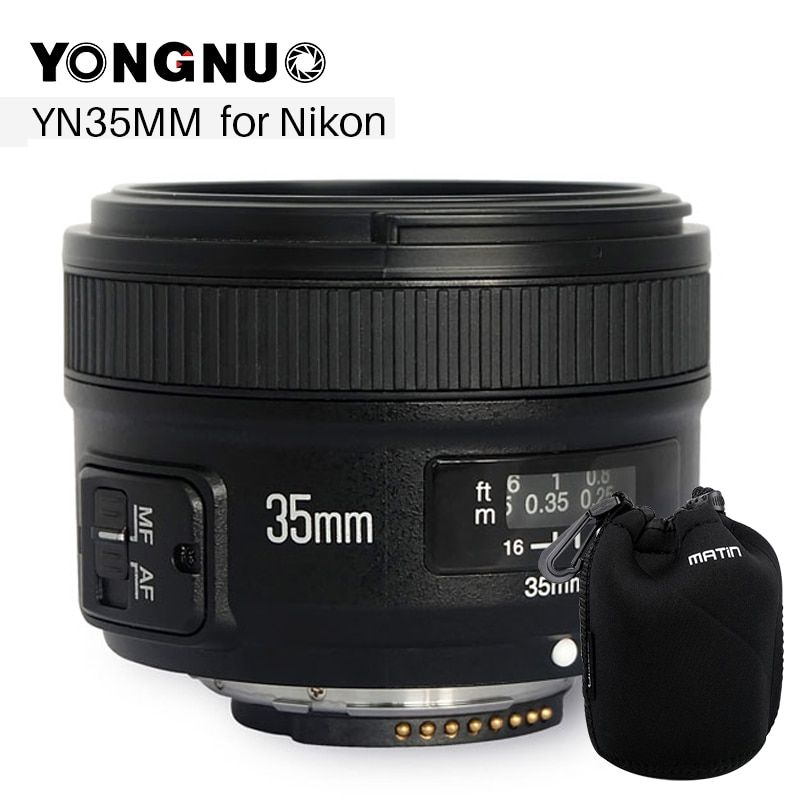 YONGNUO YN 35mm Camera Lens F2 Lens 1:2 AF / MF Wide-Angle Fixed / Prime Auto Focus Lens for Nikon for Canon
