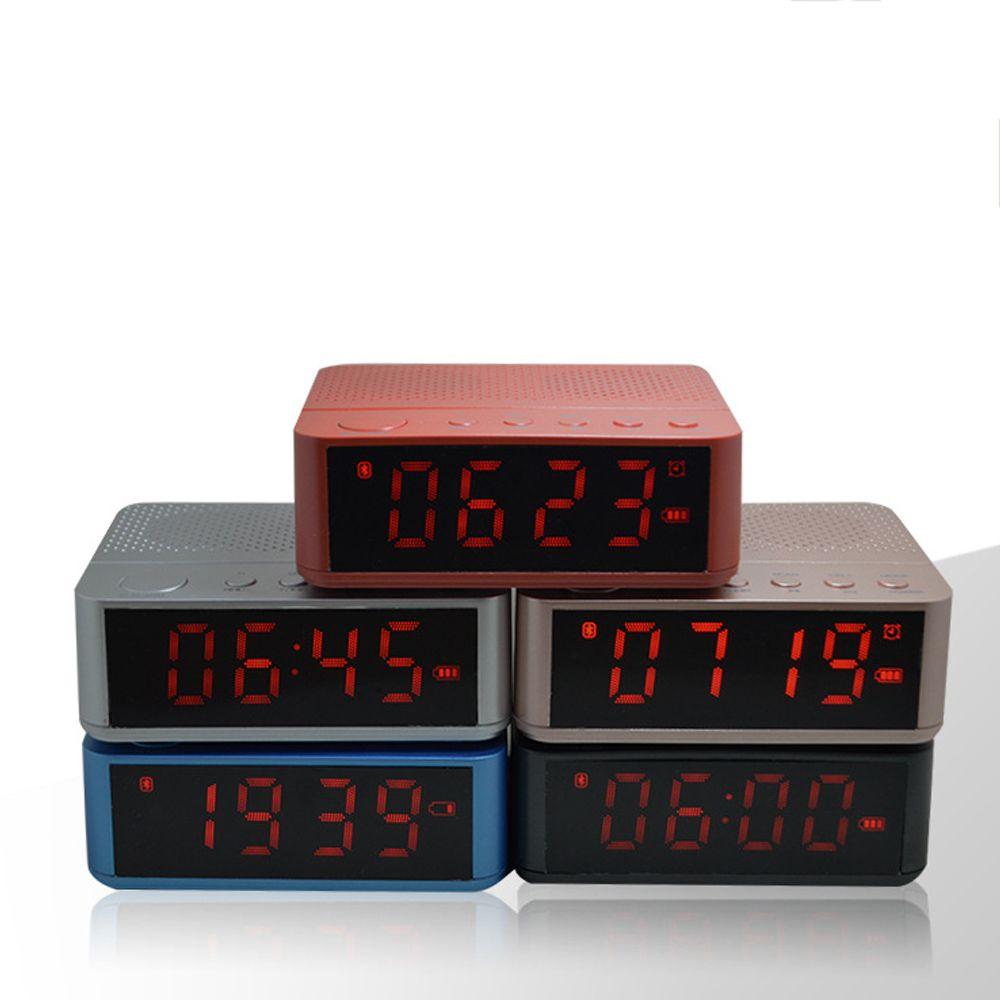 Altavoz portátil Bluetooth Wireless Stereo Music tapa Tiempo Display Reloj Despertador FM Radio Card TF altavoz Altavoces para Teléfonos
