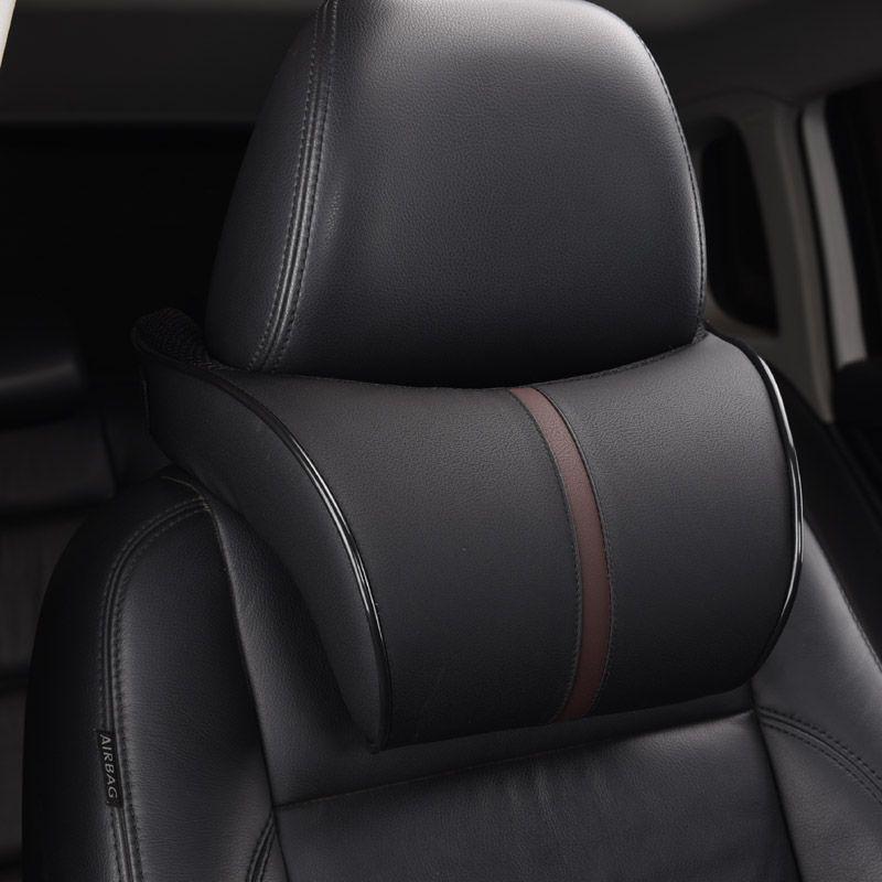Réglable voiture appui-tête oreiller ensemble en cuir Auto cou Protection reste oreillers siège taille Supports lombaire coussin mémoire coton
