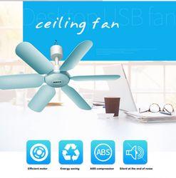 AUX 7W 6 Leaf Super Quiet Soft Wind Mini Household Mute Mini Fan ceiling fan Energy Saving Fan ABS Hanging Fan For Home Blue220V
