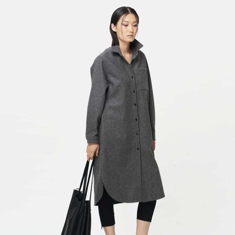 [ LYNETTE'S CHINOISERIE - Qing Chen ] Original design autumn winter women shirt type long-sleeve outerwear medium-long wool coat