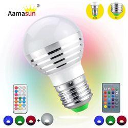 RGB Christmas Decor Atmosphere LEDs Stage Night Light E27 E14 5W 110V 220V LED RGBW Lamp Spotlight Bulb Magic Holiday Nightlight