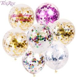 FENGRISE oro rosa confeti globos de látex confeti globo Feliz cumpleaños globo de la decoración de la boda evento Fiesta suministros