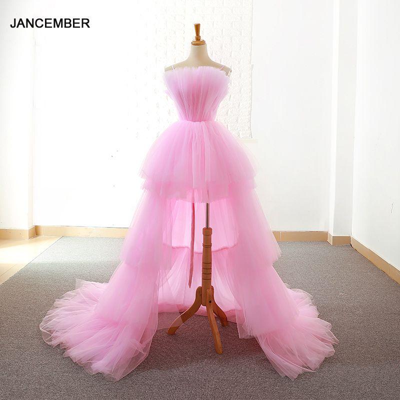 J66650 jancember prom kleider 2019 vordere kurze zurück lange bodenlangen einfache a-linie lace up zurück abendkleider vestido festa