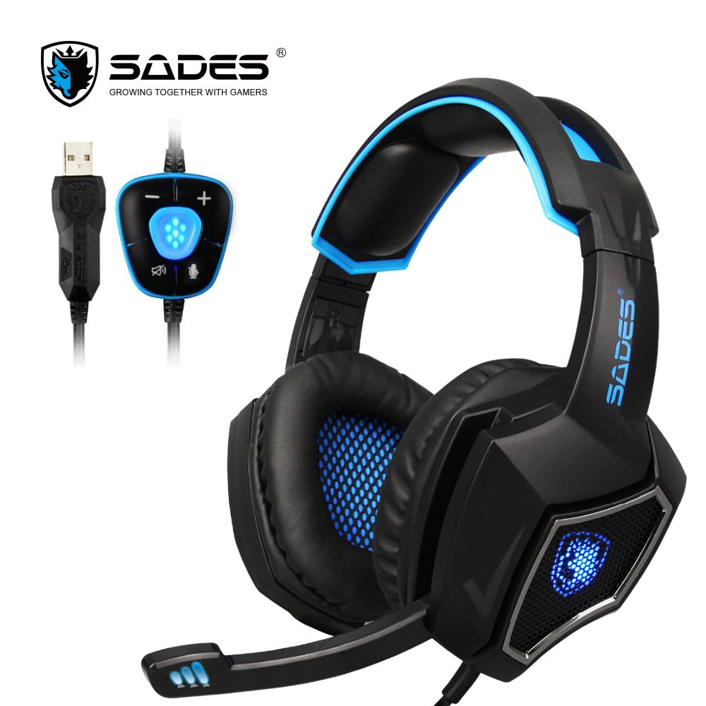 SADES Spirit <font><b>Wolf</b></font> 7.1 Surround Sound Stereo USB Gaming Headphone with Mic Breathing LED Light For PC Gamers