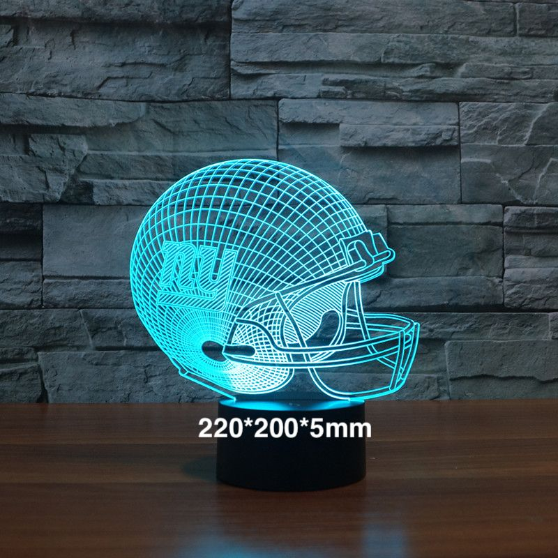 New York Giants football équipe casque 3D LED nuit lumière 7 changement de couleur Tactile Capteur Hologramme Garçons Enfants Fans Cadeaux lampe de table