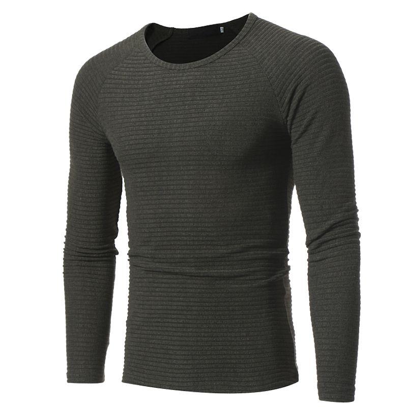 Sweater Pullover  Men 2018 Male Brand Casual Slim Sweaters Men Soild Color Vertical Stripes Hedging O-Neck Men'S Sweater XXXL